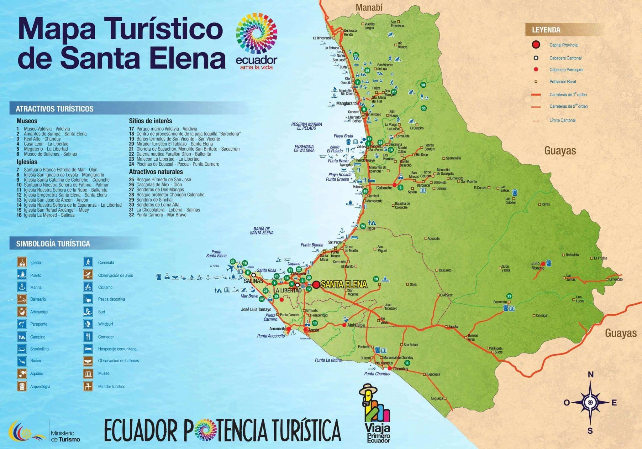 Mapa de playas y lugares turisticos de Santa Elena Ecuador